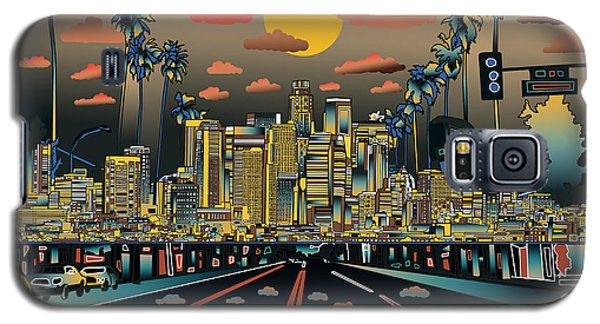Los Angeles Skyline Abstract 2 Galaxy S5 Case by Bekim Art