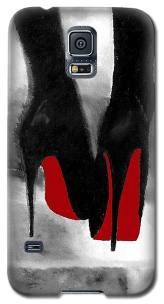 Red Galaxy S5 Cases - Louboutin At Midnight Black and White Galaxy S5 Case by Rebecca Jenkins