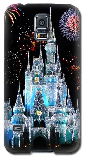 Magic Kingdom Castle In Frosty Light Blue With Fireworks 06 Galaxy S5 Case by Thomas Woolworth