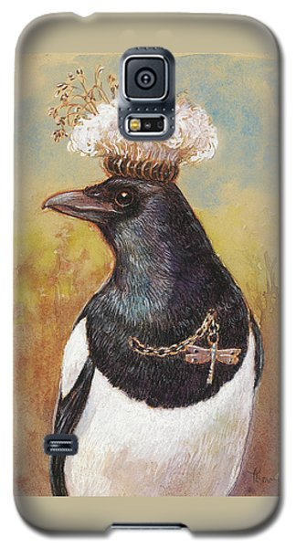 Magpie In A Milkweed Crown Galaxy S5 Case by Tracie Thompson