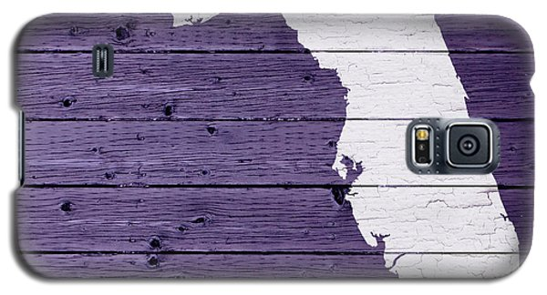 Map Of Florida State Outline White Distressed Paint On Reclaimed Wood Planks Galaxy S5 Case by Design Turnpike