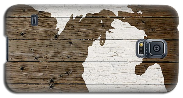 Map Of Michigan State Outline White Distressed Paint On Reclaimed Wood Planks Galaxy S5 Case by Design Turnpike