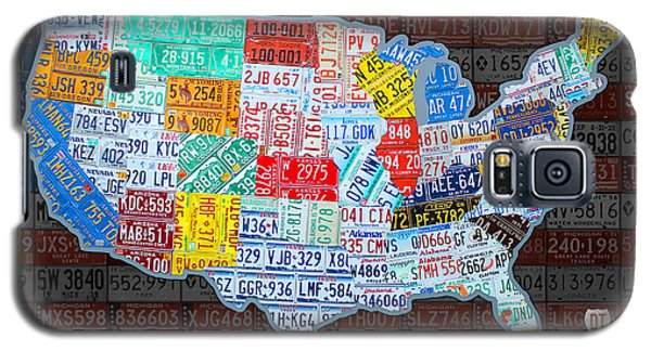 Landmarks Galaxy S5 Cases - Map of the United States in Vintage License Plates on American Flag Galaxy S5 Case by Design Turnpike
