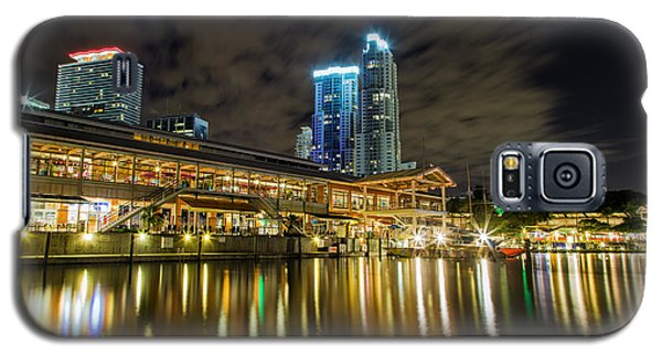 Skylines Galaxy S5 Cases - Miami Bayside at night Galaxy S5 Case by Andres Leon