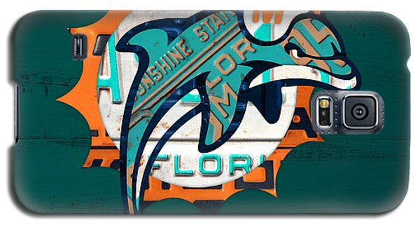 Miami Dolphins Football Team Retro Logo Florida License Plate Art Galaxy S5 Case by Design Turnpike