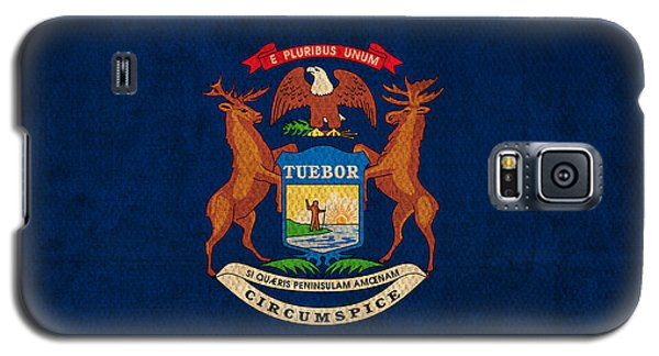 Michigan State Flag Art On Worn Canvas Galaxy S5 Case by Design Turnpike