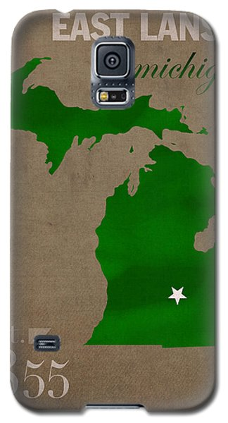 Michigan State University Spartans East Lansing College Town State Map Poster Series No 004 Galaxy S5 Case by Design Turnpike