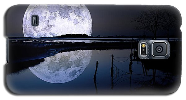 Moon Galaxy S5 Cases - Moon At Night Galaxy S5 Case by Gianfranco Weiss