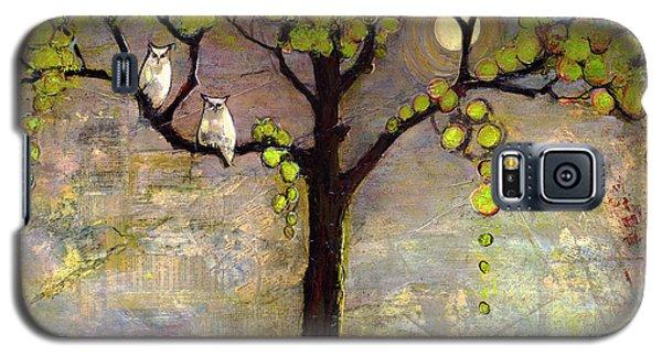 Bird Galaxy S5 Cases - Moon River Tree Owls Art Galaxy S5 Case by Blenda Studio