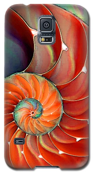 Green Galaxy S5 Cases - Nautilus Shell - Natures Perfection Galaxy S5 Case by Sharon Cummings