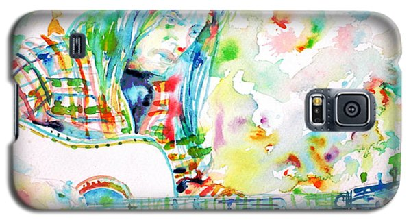 Neil Young Playing The Guitar - Watercolor Portrait.1 Galaxy S5 Case by Fabrizio Cassetta