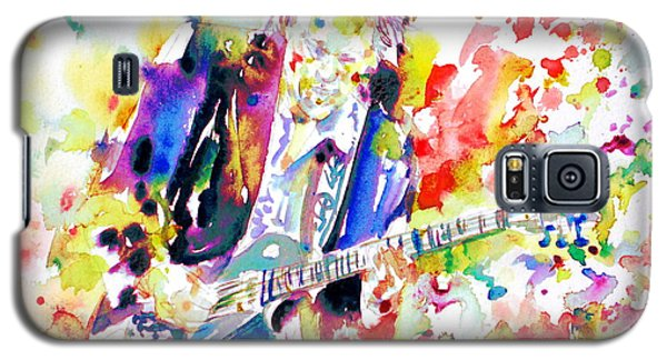 Neil Young Playing The Guitar - Watercolor Portrait.2 Galaxy S5 Case by Fabrizio Cassetta