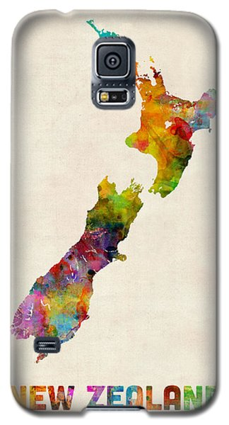 New Zealand Watercolor Map Galaxy S5 Case by Michael Tompsett