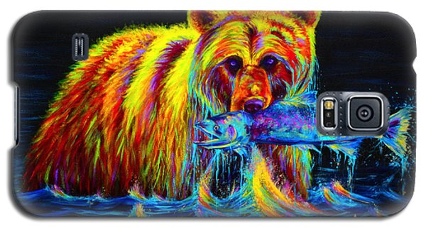 Green Galaxy S5 Cases - Night of the Grizzly Galaxy S5 Case by Teshia Art