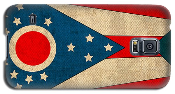 Ohio State Flag Art On Worn Canvas Galaxy S5 Case by Design Turnpike