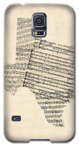 Old Sheet Music Map Of Texas Galaxy S5 Case by Michael Tompsett