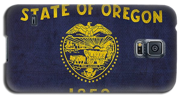 Oregon State Flag Art On Worn Canvas Galaxy S5 Case by Design Turnpike
