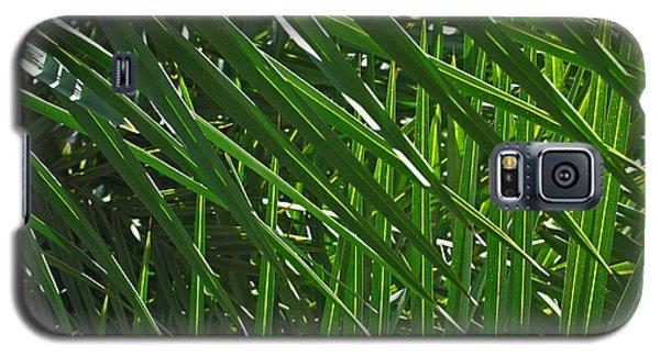 Green Galaxy S5 Cases - Palm Crosshatch Galaxy S5 Case by Rona Black