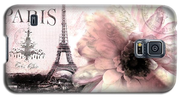 Paris Dreamy Eiffel Tower Montage - Paris Romantic Pink Sepia Eiffel Tower And Flower French Script Galaxy S5 Case by Kathy Fornal