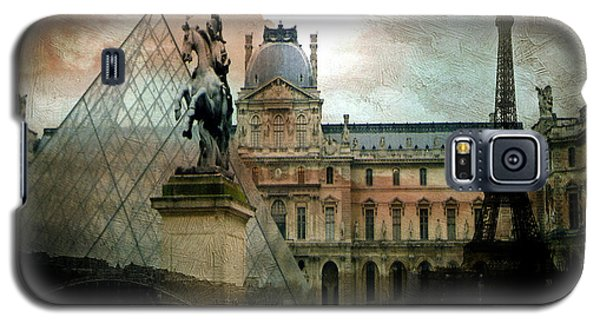 Paris Louvre Museum Pyramid Architecture - Eiffel Tower Photo Montage Of Paris Landmarks Galaxy S5 Case by Kathy Fornal