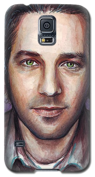 Celebrities Galaxy S5 Cases - Paul Rudd Portrait Galaxy S5 Case by Olga Shvartsur