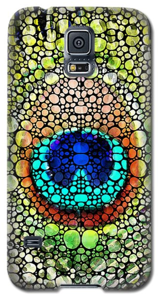 Peacock Feather - Stone Rock'd Art By Sharon Cummings Galaxy S5 Case by Sharon Cummings