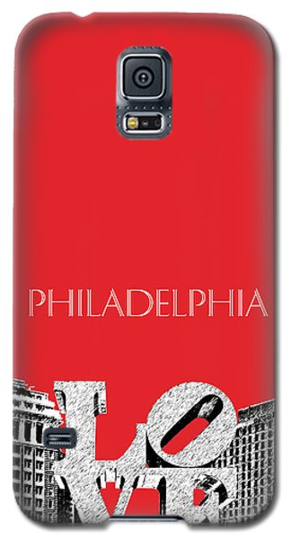 Philadelphia Skyline Love Park - Red Galaxy S5 Case by DB Artist