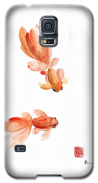 Pisces Zodiac Fishes Orange Red  Pink Fish Water Goldfish Watercolor Painting Galaxy S5 Case by Johana Szmerdt