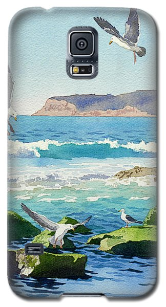 Point Loma Rocks Waves And Seagulls Galaxy S5 Case by Mary Helmreich