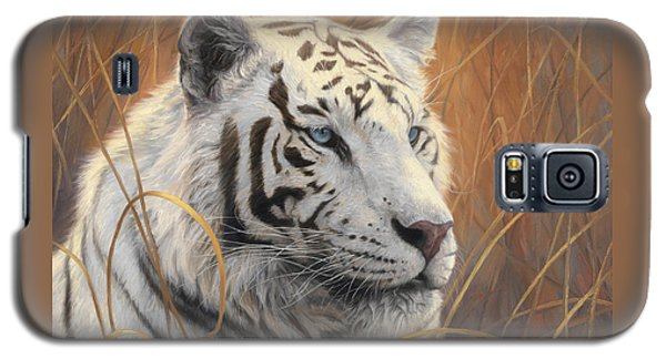 Portrait White Tiger 2 Galaxy S5 Case by Lucie Bilodeau