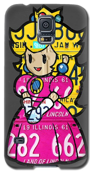 Princess Peach From Mario Brothers Nintendo Recycled License Plate Art Portrait Galaxy S5 Case by Design Turnpike