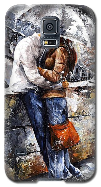 Impressionism Galaxy S5 Cases - Rainy day - Love in the rain Galaxy S5 Case by Emerico Imre Toth