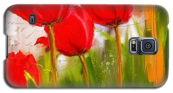Red Enigma- Red Tulips Paintings Galaxy S5 Case by Lourry Legarde