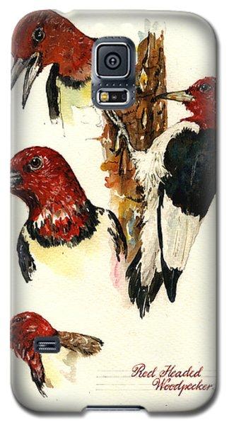 Red Headed Woodpecker Bird Galaxy S5 Case by Juan  Bosco