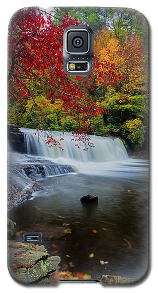 Green Galaxy S5 Cases - Red Leaves in Dupoint Park Hooker Falls Galaxy S5 Case by Andres Leon