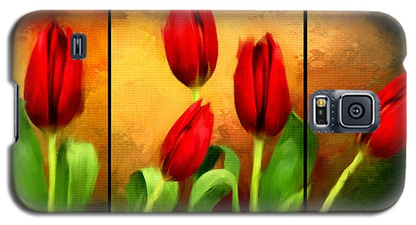 Red Tulips Triptych Galaxy S5 Case by Lourry Legarde