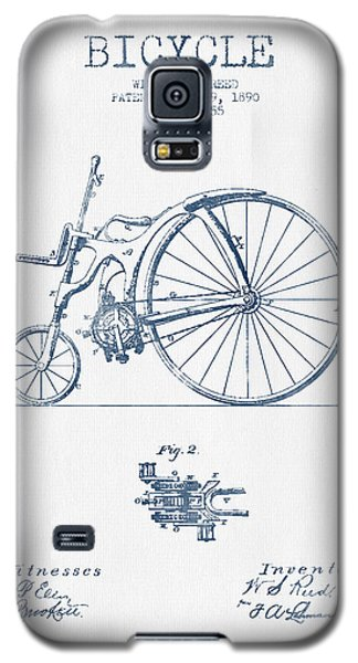 Reed Bicycle Patent Drawing From 1890 - Blue Ink Galaxy S5 Case by Aged Pixel