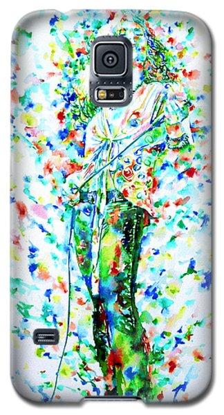 Robert Plant Singing - Watercolor Portrait Galaxy S5 Case by Fabrizio Cassetta