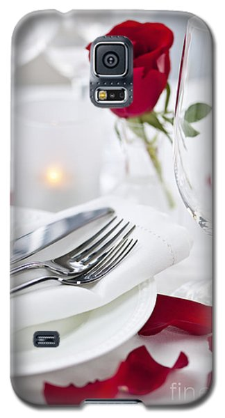 Floral Galaxy S5 Cases - Romantic dinner setting with rose petals Galaxy S5 Case by Elena Elisseeva