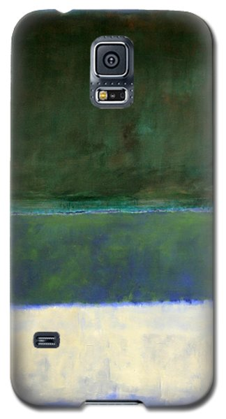 Rothko's No. 14 -- White And Greens In Blue Galaxy S5 Case by Cora Wandel