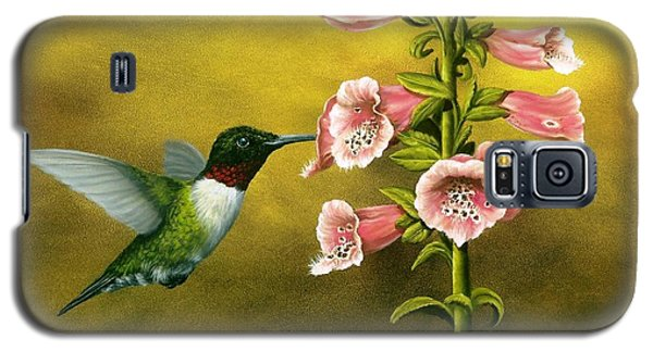 Ruby Throated Hummingbird And Foxglove Galaxy S5 Case by Rick Bainbridge