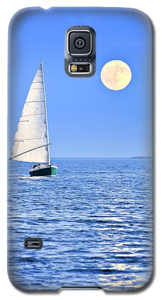 Moon Galaxy S5 Cases - Sailboat at full moon Galaxy S5 Case by Elena Elisseeva