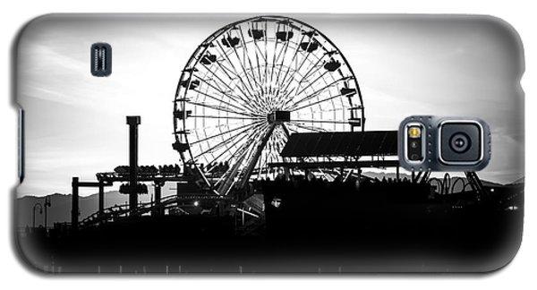 Santa Monica Ferris Wheel Black And White Photo Galaxy S5 Case by Paul Velgos