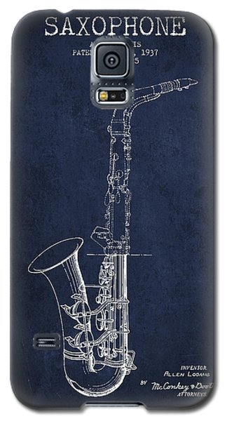 Saxophone Patent Drawing From 1937 - Blue Galaxy S5 Case by Aged Pixel