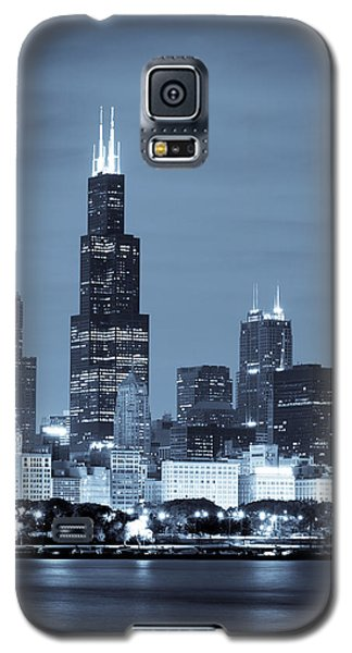 Landmarks Galaxy S5 Cases - Sears Tower in Blue Galaxy S5 Case by Sebastian Musial