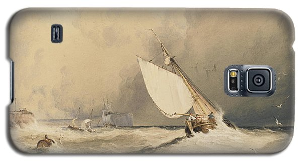Ships At Sea Off Folkestone Harbour Storm Approaching Galaxy S5 Case by Anthony Vandyke Copley Fielding