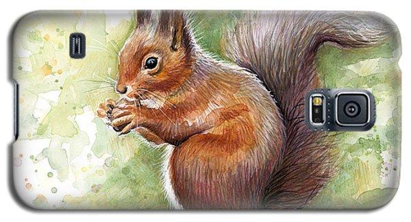 Squirrel Watercolor Art Galaxy S5 Case by Olga Shvartsur