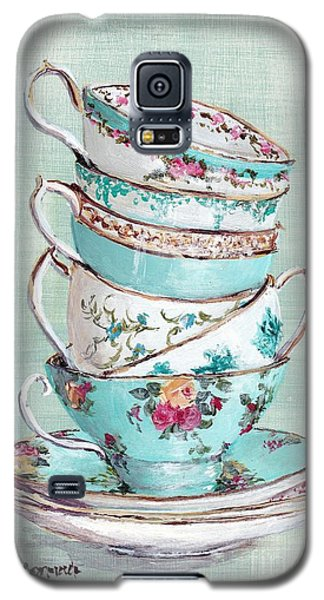 Stacked Aqua Themed Tea Cups Galaxy S5 Case by Gail McCormack