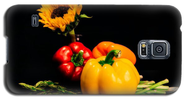 Still Life Peppers Asparagus Sunflower Galaxy S5 Case by Jon Woodhams