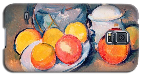 Still Life Galaxy S5 Cases - Straw Covered Vase Sugar Bowl and Apples Galaxy S5 Case by Paul Cezanne